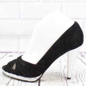 Michael Kors Black Silver Peep Toe Heels Size 9